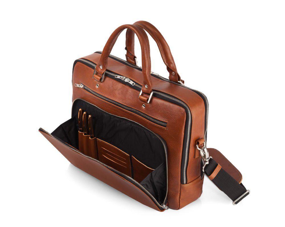 Skórzana męska torba na laptopa Solier SL24 Shannon brązowa vintage
