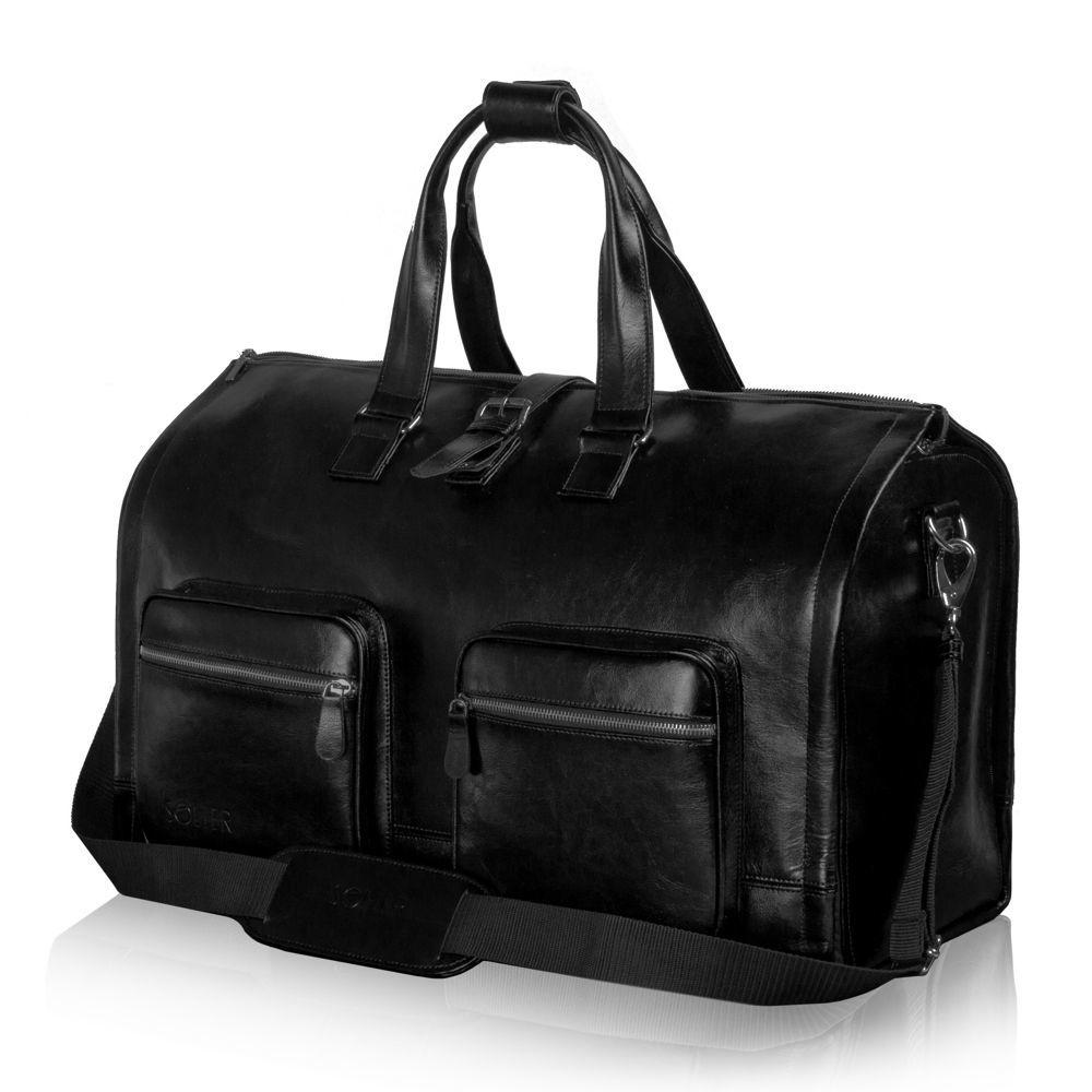 7e53bee79b757 Skórzana torba męska na garnitur czarna SL18 Harlow