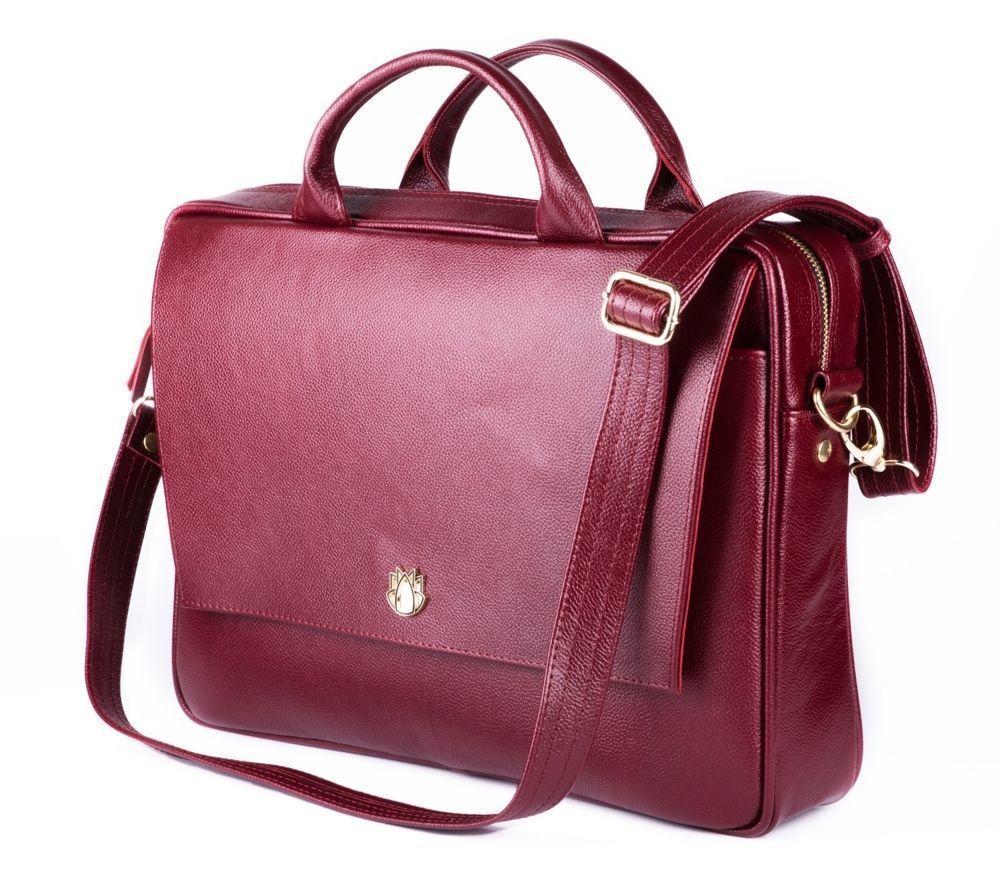 61f959165b45b Skórzana torba na laptopa FL14 Rimini burgundowa Kliknij