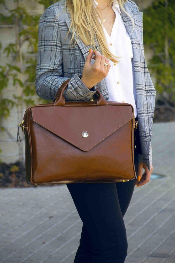 e57a34949a9d6 ... Skórzana torba na laptopa FL15 Positano brązowy vintage Kliknij, aby  powiększyć